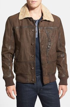 Timberland 'Tenon' Leather Bomber Jacket with Faux Shearling Collar available at #Nordstrom