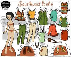 Southwest Boho Paper Doll Set in Full Color