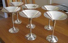 STUNNING SET OF 6 FRENCH ART DECO 1920s CHROME COCKTAIL GLASSES