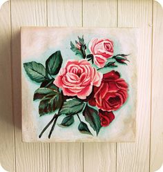 Everything's Rosey wall print box art by Everyday is a Holiday $39.00 #roses #vintage #painting #print #retro #polka dots #spotty #pink #red #aqua