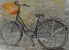 Village Bike on the Streets of Europe (Original Watercolor)