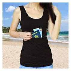 Tank tops with pockets - the perfect hiding place for all your valuables! Free shipping worldwide on all orders over $75! Shipping & FAQ CHECK OUT OUR HACKER'S GUIDE TO CLEVER TRAVEL COMPANION GEAR! 95% cotton, 5% spandex (gray 87% cotton, 8% polyester, 5% spandex) Metal zipper pullers, plastic zipper (does not set off Airport security) The tank tops come in a traditional tank top style, with one pocket on the front with zipper closure. The pockets are just the right size for a p...