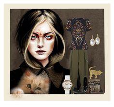 """YEAR OF THE CAT"" by melange-art ❤ liked on Polyvore featuring Alexander Wang, Alexander McQueen, Laurel Burch, Hot Topic, Devta Doolan, Girard-Perregaux and felinefashion"