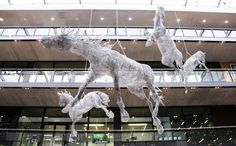 A Tribute to her brothers epilepsy and autism. Tess Dumons life-size horse sculptures were suspended from the ceiling in the atrium at Londons Central St. Central Saint Martins, Royal College Of Art, Horse Sculpture, Chicken Wire, Sports Art, King George, French Artists, Sculptures, Fine Art