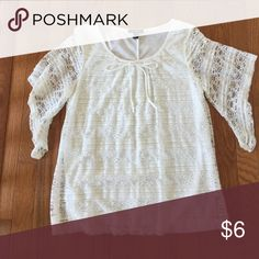 """Offwhite/white lacy blouse 👚 White to off white lacy blouse. Very pretty dainty sleeves. 25 1/2"""" long. Dress up or dress down. Cute with jeans and boots. Tops Blouses"""