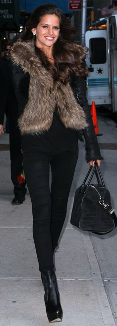 fur vest(brown w/black hues) & all black clothing