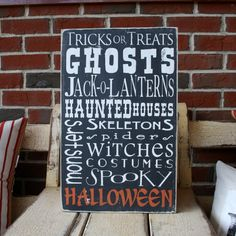 Halloween  Typography Word Art Sign in by barnowlprimitives