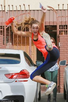 Take that! Sadie Robertson jumped into the air and kicked her leg high following another sweat-grueling rehearsal with dance professional Mark Ballas for Monday night's episode of Dancing With The Stars on Friday in Hollywood