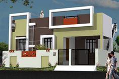 Exterior design house front elevation indian Ideas for 2019 Single Floor House Design, Duplex House Design, House Front Design, Modern House Design, Exterior Wall Design, Exterior House Colors, Front Elevation Designs, House Elevation, Flat Roof House Designs