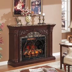 New Classic Flame Astoria Wall Fireplace Mantel, Empire Cherry (Electric Fireplace Insert sold separately) online shopping - Proalloffer