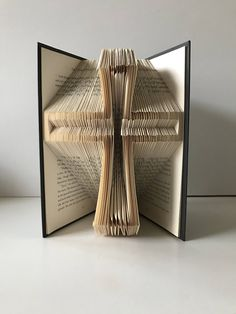 Cross Folded Book Art Crucifix Baptism Gift Jesus Personalized Priest Nun Minister Pastor Unique First Communion Party Centerpiece Decor by GiftwithTreasures on Etsy