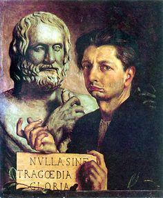 """""""Nulla sine tragoedia gloria""""   Autoritratto con busto di euripide, De Chirico, 1923"""