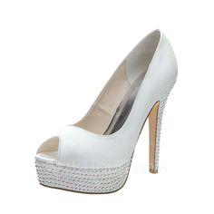 Wedding Shoes - $73.99 - Women's Satin Stiletto Heel Peep Toe Platform Pumps Sandals With Rhinestone (047053931) http://jjshouse.com/Women-S-Satin-Stiletto-Heel-Peep-Toe-Platform-Pumps-Sandals-With-Rhinestone-047053931-g53931