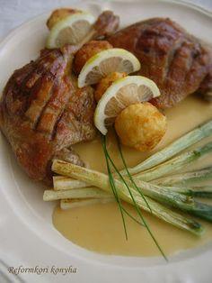 Reformkori konyha: Befojtott kácsa pirított újhagymával Pork, Drinks, Diet, Kale Stir Fry, Drinking, Beverages, Drink, Pork Chops, Beverage