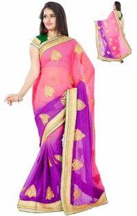 Delightful Pink Purple Colour Chiffon Designer