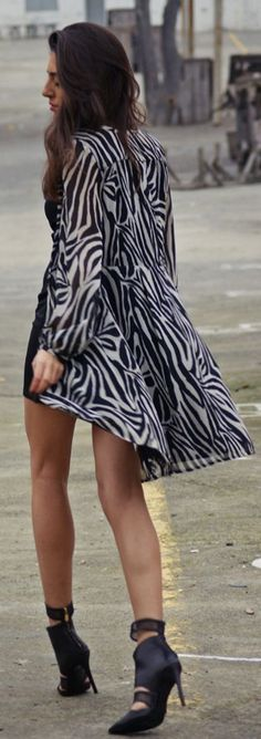 Black And White Zebra Print Long Line Jacket