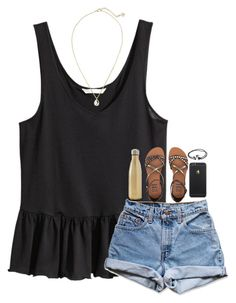 """""""finally friday"""" by simple-and-bright ❤ liked on Polyvore featuring H&M, S'well, Levi's, Billabong, Joie and Kendra Scott"""