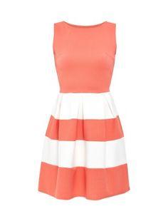 Cameo Rose Coral Stripe Skater Dress | New Look