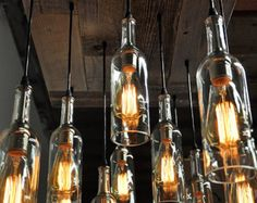 11 Wine Bottle Pendant Chandelier - Reclaimed Wood Wine Bottle Chandelier - Dining Room Lighting, Wine Bar Lighting