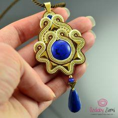 Blue Craemy Soutache Pendant Soutache Jewelry Blue by OzdobyZiemi