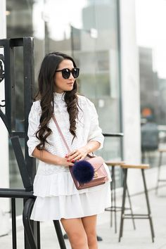 English Rose - Wendy wearing an English Factory Dress, Louis Vuitton Bag, Gianvito Rossi Shoes and Karen Walker Sunglasses.