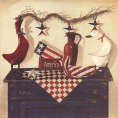 AMERICA folk art print by Linda Lane. Shop for affordable, exceptional custom framed art prints.