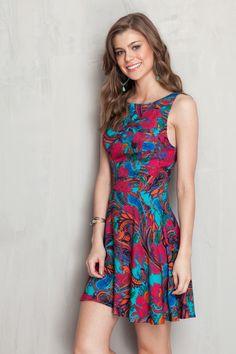 Vestido tiras costas estampado floral cashmere | Dress to