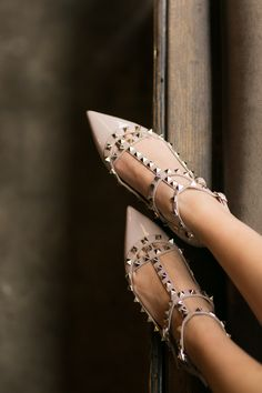 Valentino is universally recognised as a symbol of Italian design. Browse the latest Valentino designs and shop online now. Stilettos, Pumps, High Heels, Valentino Flats, Christian Louboutin, Wendy's Lookbook, T Strap Flats, Womens Golf Shoes, Latest Shoe Trends