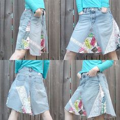 One million and one (not really, but close!) ways to make a denim skirt out of jeans...or scraps, if you're me!