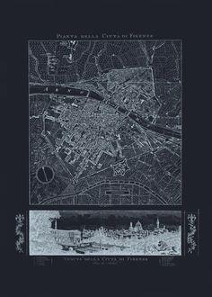 FLORENCE MAP ART Blueprint Map of Floence by EncorePrintSociety