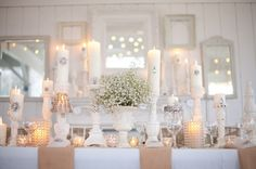 Rustic Chic Tablescape: baby's breath and white