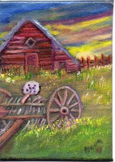 ACEO 2.5x3.5in Orig Art Canvas Oil Landscape Old Barn Farm Dollhouse Nova Hart…