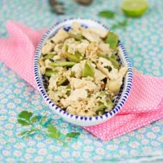Fried rice with chicken and snow peas