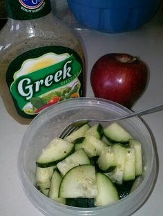 Hungry? But trying to lose a little weight? Try cutting up a cucumber and adding some greek dressing! 1tbsp of dressing and 1/2 cucumber. Really yummy. Have an apple or orange after for those who need a sweets fix. The natural sugars will help.