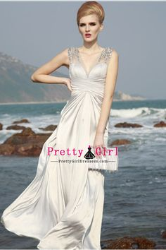 2012 Evening Dresses Sheath Column V Neck Floor Length Chiffon V Neck d8caff1e94a0