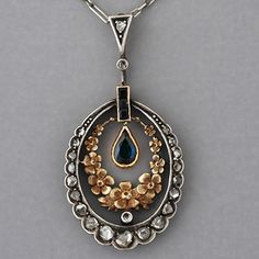 Antique Art Nouveau Gold Sapphire and Rose-cut Diamond Floral Pendant