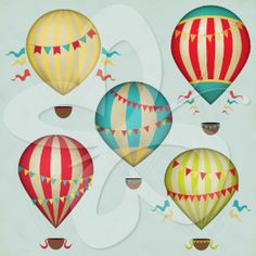 Vintage Hot Air Balloons Clip Art Set $4