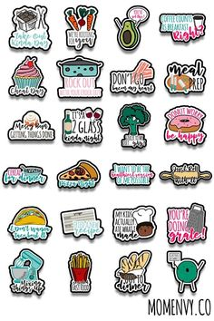 Funny Meal Planning Stickers - 24 Free Different Designs To Do Planner, Planner Pages, Meal Planner, Happy Planner, Printable Planner Stickers, Journal Stickers, Scrapbook Stickers, Free Silhouette Files, Silhouette Cameo