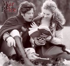 Reading their story! ❤️ Behind the scenes photo of James Norton as Prince Andrei Bolkonsky & Lily James as Countess Natasha Rostova in War And Peace (2016)