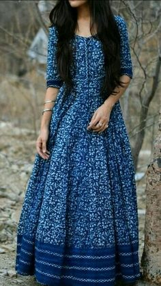 Indigo Muse - Floor Length Indigo Maxi Dress in Bagru Printed Cotton Indian Designer Outfits, Indian Outfits, Designer Dresses, Indian Gowns Dresses, Pakistani Dresses, Cotton Gowns, Cotton Maxi Dresses, Cotton Long Dress, Long Gown Dress
