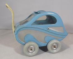 """Vintage deco miniature celluloïd doll landau bleu (4 """"hauteur de poignée) nines"""