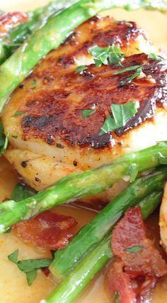 Scallops with Bacon & Asparagus