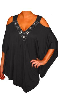 FunFash Plus Size Black Slimming Beads Angel Sleeves Womens Top Shirt