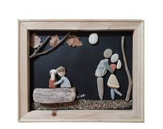 This is a unique pebble art wall hanging that can also stand on any flat surface, made entirely by natural, non-processed materials. It contains pebbles, leaves, driftwood, wood and shells collected by me from the woods and beaches of mount Pelion, near the city of Volos, Greece. Family In Nature Its dimensions are 30 X 27 cm and its weight 350 gr.