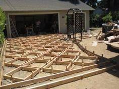 Concrete patio slab ideas Ideas for 2019 Driveway Design, Driveway Landscaping, Patio Design, Garden Design, Driveway Ideas, Concrete Paver Patio, Patio Slabs, Brick Patios, Concrete Driveways
