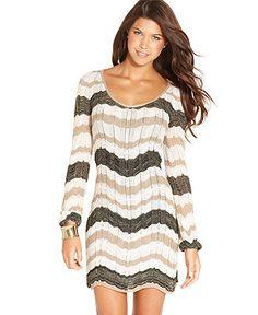 XOXO Juniors Dress, Long-Sleeve Zigzag-Knit Sweater Dress - Juniors Sweaters - Macy's