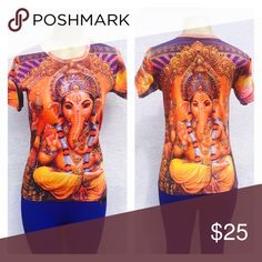 Lord Ganesh top Beautiful printed God shirt on front and back  Vibrant colors to keep your soul energized 🙏. Doesn't have a size tags . As these are from India . Would be perfect for size Small or medium . 👍Measures🔹Armpit to Armpit : 18.5🔹Length :24. 👍Brand new but No tags as that's how it's sold in India . Tops Tees - Short Sleeve