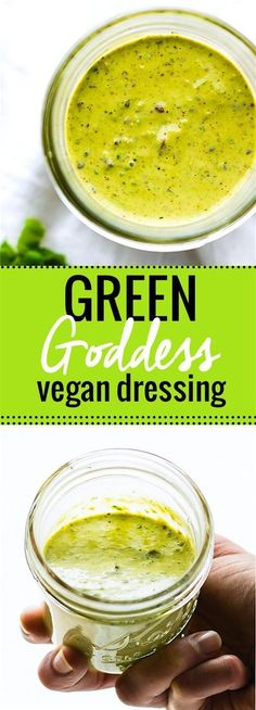 homemade vegan green goddess dressing. This vegan green goddess dressing is TO DIE FOR! Paleo friendly, made with simple healthy ingredients, and pretty much good on EVERYTHING! A staple dressing you will want to make again and again! Especially with potato salad!/cottercrunch/