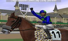 A victorious Carrot Cake Zachy winning the Seattle Slew Derby and final leg of the digitaldowns.us Triple Crown! Congrats to the winning connections! Virtual Horse Racing, Horse Online, Carrot Cake, Victorious, Riding Helmets, Derby, Seattle, Crown, Horses