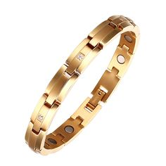 Ladies Gold plated magnetic therapy bracelet titanium for pain relief Arthritis Carpal Tunnel Tendinitis Tennis Elbow RSI Joint and Wrist